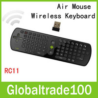 Wholesale Mini Fly Air Mouse RC11 GHz Wireless Keyboard Gyroscope PC Remote Controls For Google Mini PC Android TV Box Free DHL Shipping