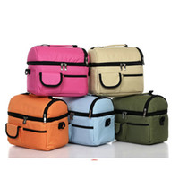 Wholesale Mutilfunctional Waterproof Lunch Bags Removable Strap Cooler Bags Zipper Closure Thermal Insulation Picnic Bags Two comparts Brunch Box