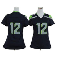 Football Women Short 2014 New Style Womens Football Jerseys #12 Fan Navy Blue Game American Football Jerseys Cheap Top QUality Football Kits All Teams Hot Sale