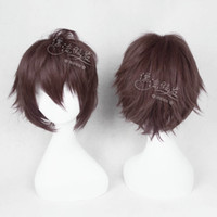 Cheap cosplay wig new COS wig anime game characters dark brown short hair and PL-FQ0047 (8)cabelo humano