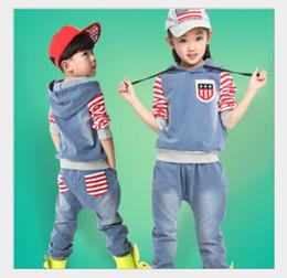 Wholesale Children new Korean autumn big boys and girls sports leisure cowboy suit factory direct