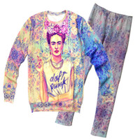 Wholesale 2014 women FRIDA DAFT PUNK casual galaxy sports suit hoodies sweater set d floral print sweatshirts and pant