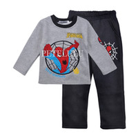 Cheap in stock wholesale children outfits sets baby boys clothing suits gray red color outwear baby kids clothes sets spring long sleeve outfits