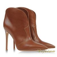 Cheap New Pointed Toe Woman Ankle Brown Color Euramerican Style Short Boots Cowhide Leather Side Zipper Fashion Woman Shoes Stiletto Heel 12cm