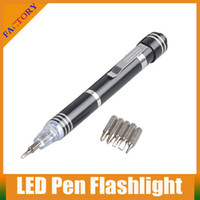 Wholesale New Led Light Pen Screwdriver in Aluminum Magnetic Screwdriver With Pocket Clip And LED Flashlight With Factory Price And A Quality