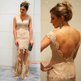 2014 Cheap Formal Evening Dresses Backless Peach Lace V neck cap sleeve Floor length Celebrity Formal Evening Party Cocktail Prom Gown