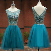 short sparkly prom dresses - 2015 Ball Gown homecoming dresses with scoop neck sparkly beads sequins bodice layers tulle skirt v back short prom Mini party gowns SU05