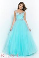 Wholesale 2015 New Ball Gown Scoop Prom Dresses Rhinestone Sequins Beading Tulle Backless Hollow Floor Length Charming Formal Dress Evening Gown