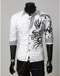 Wholesale Spring Fashion New Long Sleeve Dragon Print Shirts Men Quality Boys Outerwear Shirts Outdoor Cotton