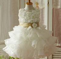Cheap 2015 Crew With Hand Made Flower Back Zipper With Sash Bow Little Girl's Pageant Dress Ball Gown Knee Length Girl Dress For Children Dance