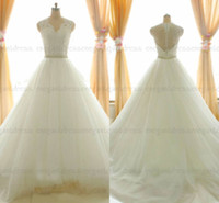 Wholesale Sfani Real Photo Lace Pearls High Back Wedding Dresses Bridal Gown Designer New Button Back White Ivory