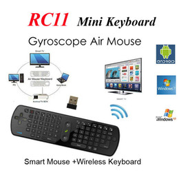 Wholesale Measy RC11 Fly Air Mouse Keyboard GHz Wireless Gyroscope Handheld Remote Control for Google Android TV BOX Laptop Tablet Mini PC Game