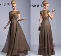 Cheap 2014 Sexy Illusion Crew Neck Mother Of The Bride Dresses Crystal Embroidery Chiffon Sheer Back Cap Sleeve Formal Evening Gowns Janique w325