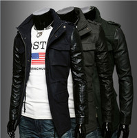 100% leather jackets - Brand New Fashion Winter boom spell Korean Men s fashionable leather sleeves Zip slim fit trench coat jacket