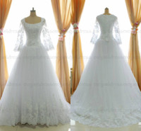 Wholesale Sfani Real Photo Lace Pearls High Back Modest Long Sleeve Wedding Dresses Bridal Gown Designer New Button Back White Ivory