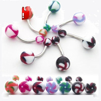 Wholesale Pieces Mix color UV Acrylic Ball Navel Belly Button Ring Body Jewelry Piercing Ring