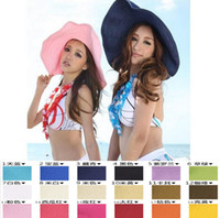 Wholesale 2014 HOT SALE Colors Chic Women s Wide Large Brim Summer Beach Sun Hat Ladies Fashion Straw Derby Cap