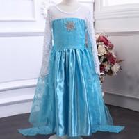 Cheap new Frozen elsa anna 2014 Children Christmas Baby Girl Princess long Sleeve party Birthday lace Tutu Sequins Dresses