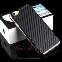 Wholesale For iphone inch Plus Carbon Fiber Leather Electroplate Grain Chrome Hard Back Case Cover For iphone6 quot