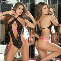 Wholesale Open Exposed hollow out Sexy Lingerie collar latex sexy Women Lingerie Sets erotic see through lace