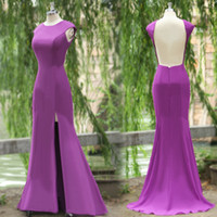 naked 2 - 2015 Actual Image Evening Dresses with jewel Neck naked back cap sleeves Split Side Floor Floor Length Formal Prom Party Gowns SU18