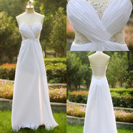 Wholesale Chiffon SSJHot Sweetheart Evening Dresses Long Pure White Illusion Back Tulle Prom Party Gowns With Side Slit Cheap Formal Evening SU37