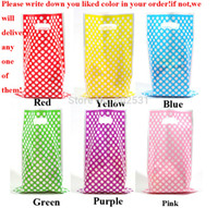 Cheap Birthday Gift Bag Tote bags candy dots birthday Favor plastic gift bag 10pcs lot party decorations