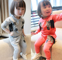 zebra print - Autumn Child Clothing Set Long Sleeve Cartoon Zebra Printed Pullover Long Pant Set Baby Girls Kids Outfits Gray Watermelon Red M1316