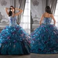 Wholesale 2014 Lovely Princess Crystal Ball Gown Sweetheart Quinceanera Dresses with Lace up Back Ruffles Sexy Dark Green Quinceanera Prom Gowns