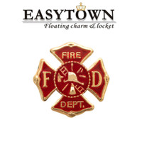 Wholesale 2016 New design summer style FIRE DEPT floating locket charm fits floating lockets for