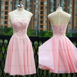 Wholesale 2015 sfani Beauty Design Real Image Homecoming Dresses Pink Chiffon See Through Sheer Neck Appliques Short Cocktail Party Dress