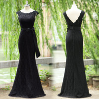 Wholesale 2014 ssj Actual Image Black Lace Evening Gowns Crew Neck Ribbon Bow Covered Button Sweep Train New Mermaid Formal Prom Dresses SU20