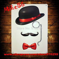 Cheap [ Mike86 ] Hat Glasses beard tie Metal Plaque Decor Bar House Wall Art Painting B-202 Mix order 20*30 CM