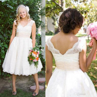 Wholesale 2015 New Classic Plus Size Wedding Dresses Bridal Gowns With Lace V Neck Off Shoulder Capped Sleeve Tea length B