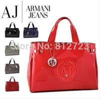 Wholesale RECOMMEND NEW STYLE Women s handbag aj bag shoulder bag japanned leather patent leather oil skin PU jelly handbag