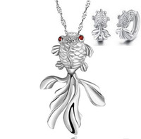 Wholesale New Arrical Lucky Fish Necklace Earring Sets Sterling Silver Necklace Earring Set Layer Platinum Plated OS15