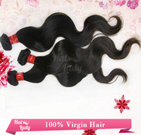 Wholesale 100 Brazilian Virgin Hair Inch Inch Human Hair Weft Weave Extensions Body Wave Jet Black Hair Pieces Bundles DHL