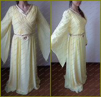 Wholesale 2014 New Real Pictures V Neck Beaded With Rhinestones Long Sleeve Chiffon Sash islamic clothing for women Yellow Mother abaya in dubai