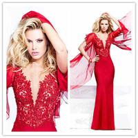 Cheap 2014 SSJ New Tarik Ediz Sexy Red Prom Dress SSJ Sheath Short Sleeve Floor Length Lace Dresses Party Evening Gowns Long Formal Dress N631