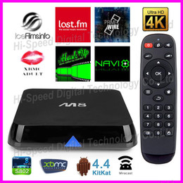 Wholesale Amlogic s802 smart M8 quad Core G G Android Rooted TV Box XBMC Fully Loaded Mali450 K H265 GHz Wifi Mini PC