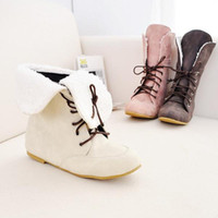 Wholesale New Style Faux suede Flats Lace UP Plush Snow Ankle boots For women High help Sports shoes Western boots
