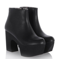 large womens shoes - ENMAYER Womens Ankle Boots Punk Rock Black White Strap Chunky Heels Platform womens Ankle Boots Shoes large size