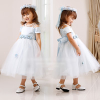 butterfly in flower - In Stock Summer Children Girls Tulle Party Dresses Kids Clothing Short Sleeve Gauze Princess Dress Childs Flowers Butterfly Dressy H1350