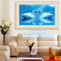 Wholesale NEW Needlework DIY diamond painting cross stitch sewing knitting needles diamond Emobroidery cm sun version of Swan