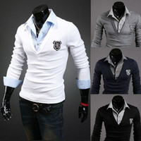 Cheap free shipping wholesale slim spring autumn popular handsome patchwork long sleeve 4 colors M L XL XXL men's Casual Polo shirt 11B-P11