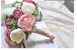 Wholesale 2014 European elegance bride holding a white fleshy camellia pollen shooting props Wedding