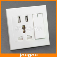 Wholesale Multifunction Electric Wall Plug Socket For Worldwide Plug AC V With Dual USB Charger
