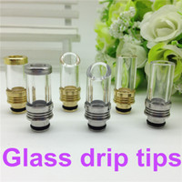 Wholesale 510 Drip tips Pyrex Glass Stainless Steel Drip tip Mouthpiece e cigarette tank drip tip for ego WAX patriot Kanger protank Aspire Atomizer