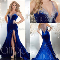 Wholesale Robe De Soiree Panoply Meramid Sexy Royal Blue Velvet Women Silt Beaded Long V Neck Abendkleider Prom Party Dress Evening Gown