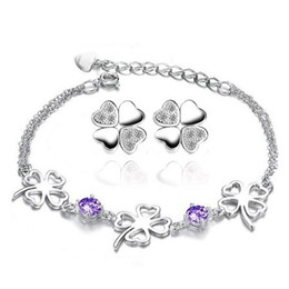 Wholesale 925 Sterling Silver Jewelry Set Lucky Clover Flower Design AAA Grade Austria Crystal Bracelet Earring Set OS19